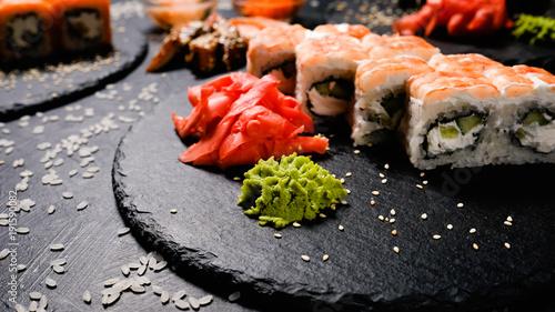 Obraz na płótnie Traditional sushi spice pickled ginger and wasabi