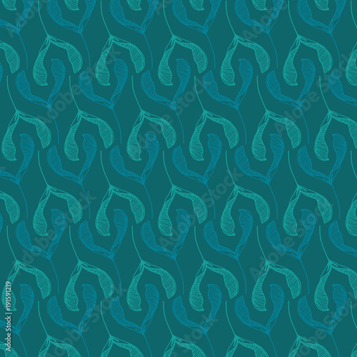 Aluminium Prints Violet Hand drawn floral vector pattern in teal color palette