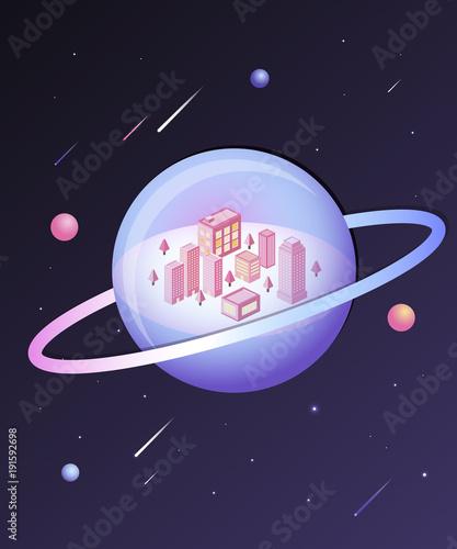 Photo  Space world illustration
