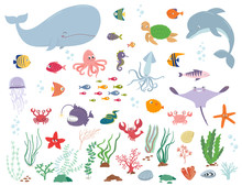 Sea Animals And Water Plants. ...