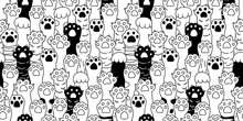 Cat Paw Seamless Pattern Cat B...