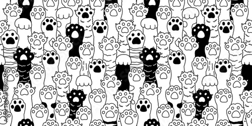 Cat paw seamless pattern cat breed isolated kitten claw dog paw hand vector wallpaper background doodle illustration