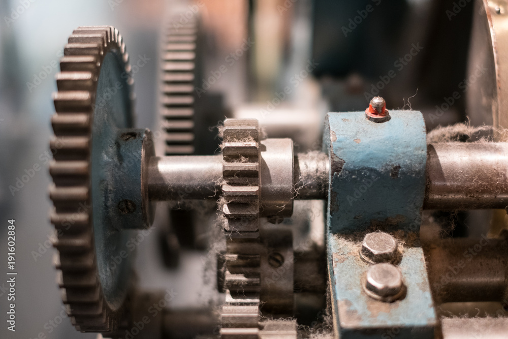 Fototapety, obrazy:  gears, closeup, of vintage machine -   technology concept,