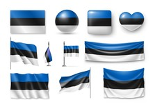 Set Estonia Flags, Banners, Banners, Symbols, Flat Icon. Vector Illustration Of Collection Of National Symbols On Various Objects And State Signs