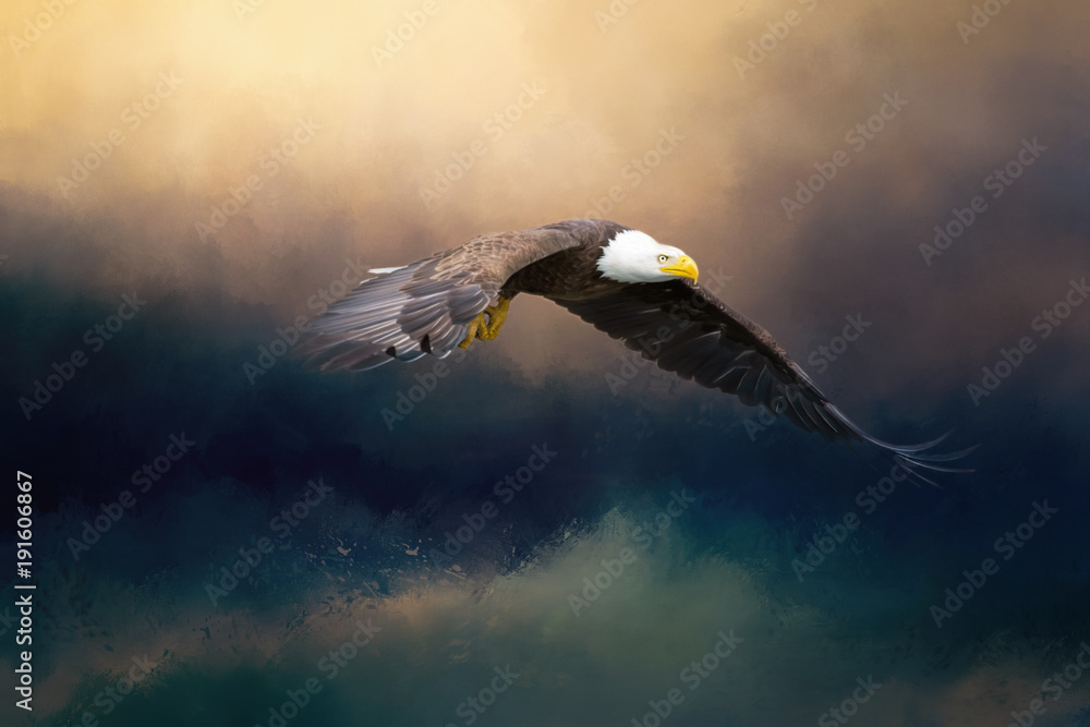 A glorious painted american bald eagle flying over the stormy sea.
