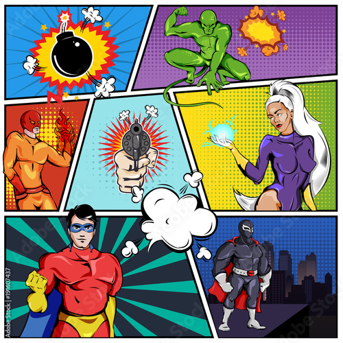 Superheroes Comic Page Template Buy This Stock Vector And Explore
