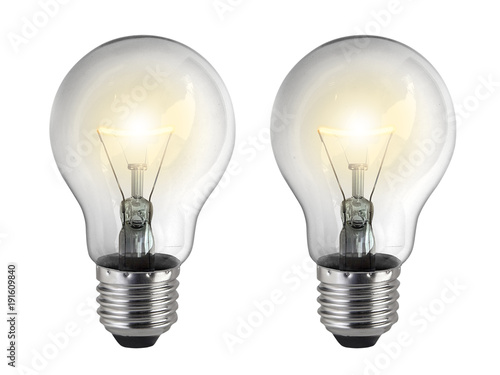 Light bulb, isolated, on white background Canvas Print