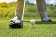 Leinwanddruck Bild - Golfer put golf ball on tee preparing shot on to golf hole