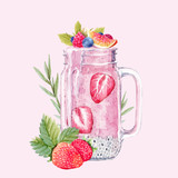 Watercolor smoothie vector illustration - 191614666