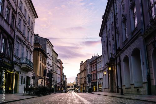 Fototapeta street view of downtown Krakow, Poland obraz