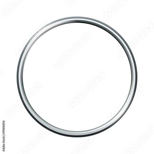 Obraz Silver metal ring isolated on white background. - fototapety do salonu