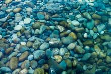 Underwater Sea Stones. Sea Water And Pebbles