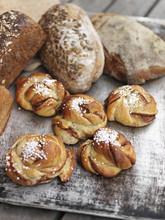 Freshly Baked Cinnamon Buns And Sourdough Bread