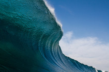 Abstract Wave, Breaking, Ocean, Blue, Sky Clouds