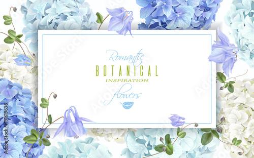 Valokuvatapetti Hydrangea horizontal banner blue