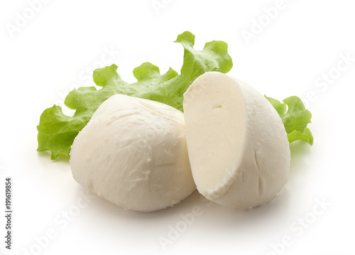 Fotoposter Zuivelproducten Two pieces of mozzarella