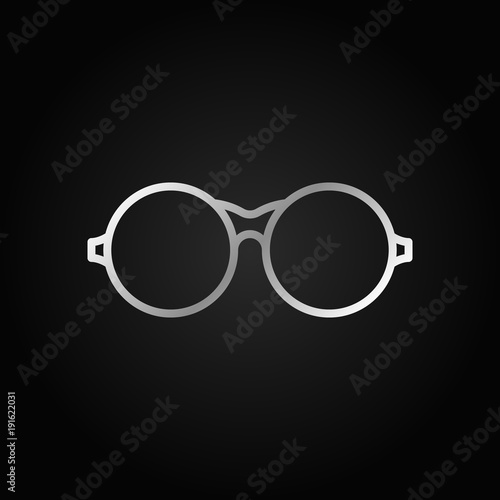 Round Eyeglasses Silver Icon Vector Glasses Symbol Buy This Stock