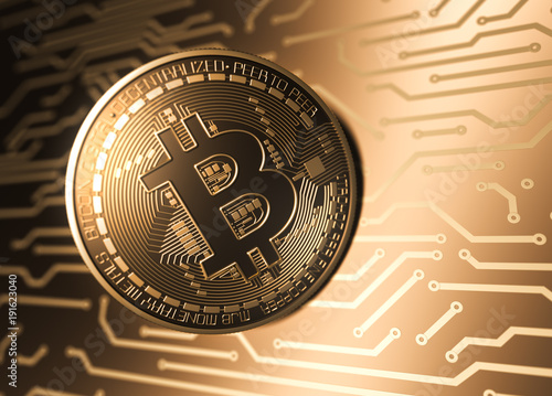 Virtual Coin Bitcoin And Printed Circuit Board. Wallpaper Mural