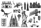 Fototapeta Nowy Jork - Set of hand drawn sketch style New York themed isolated objects. Vector illustration.