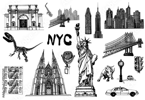 Fotografie, Obraz  Set of hand drawn sketch style New York themed isolated objects