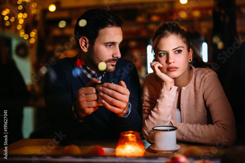 Fotografie, Obraz  Sad couple having conflict and relationship problems