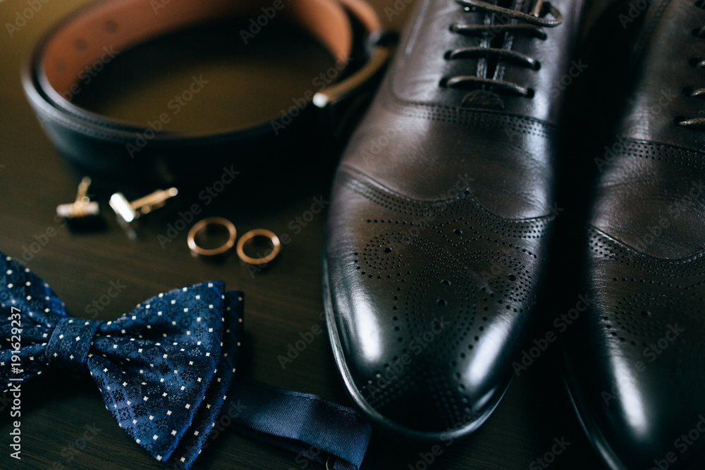 Fototapety, obrazy: Wedding details. groom set. Men's accessories, shoes, rings