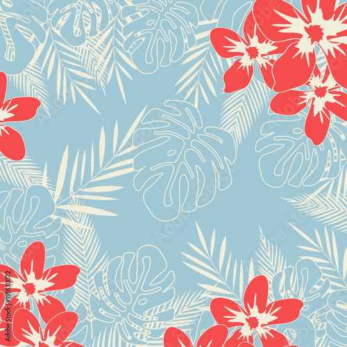 Cotton fabric Tropical jungle leaves seamless pattern background. Tropical poster design. Monstera art print. Wallpaper, fabric, textile, wrapping paper vector illustration design