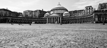 Naples Piazza Del Plebiscito In Black And White