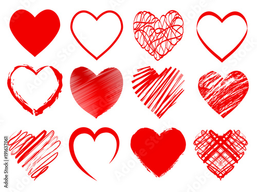 Set of red hearts for Valentines day