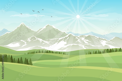Foto op Canvas Pool Vector bright landscape with green meadows, forests, mountains with snow and shining sun in blue sky