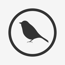 Bird Icon, Black Isolated On G...