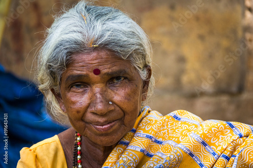 Portrait Of Indian Elder Lady With Traditional Bindi As A Third Eye