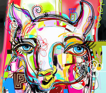 Unique Abstract Digital Art Painting Of Llama Portrait