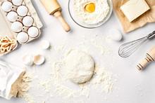Raw Dough Ready For Kneading O...