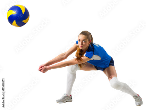 Young woman volleyball player (with ball version)