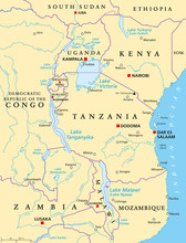 African Great Lakes. Political Map With Capitals, Borders, Important Cities, Rivers And Lakes. Lake Victoria, Tanganyika, Malawi, Turkana Und The Smaller Ones. English Labeling. Illustration. Vector.