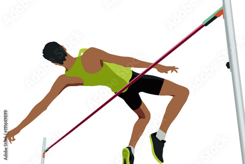Photo high jump male athlete jumping a successful attempt