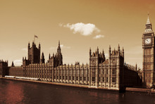 London, United Kingdom - Palace Of Westminster (Houses Of Parliament) With Big Ben Clock Tower.