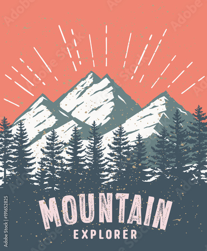 Plakat Mountain and landscape vector color image.