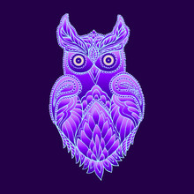 Fantasy Mystical Purple Owl