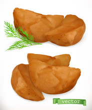 Potato Wedges. French Fries. 3d Realistic Vector Icon Set