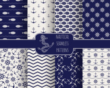 Set Of 8 Seamless Nautical Pat...