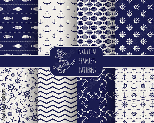 Fotografie, Obraz Set of 8 seamless nautical patterns