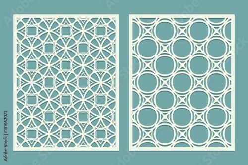 Set Of Laser Cut Geometric Pattern Template Wood Screen Lazer Panel Wall Vinyl