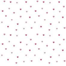 Seamless Polka Dot Pink Hearts Pattern