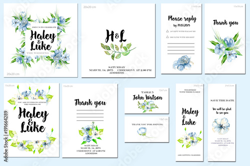 Card Templates Set With Watercolor Blue Wildflowers And