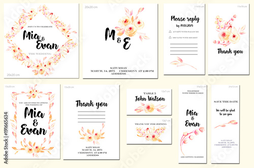 Card Templates Set With Watercolor Pink Roses And Leaves