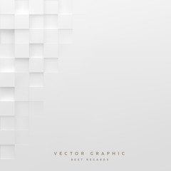 Abstract white square background. Geometric minimalistic cover design. Vector graphic.