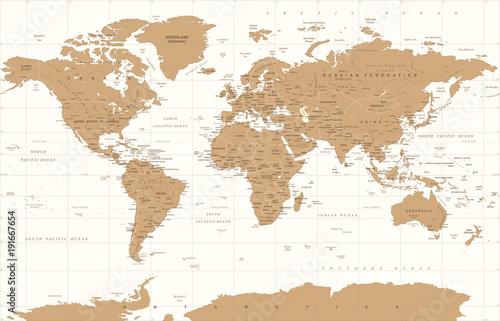 Political Vintage Golden World Map Vector