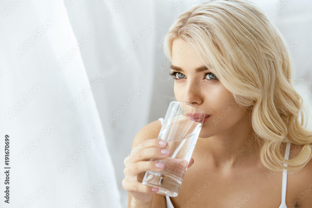 Fototapeta Drinking Water. Woman With Glass Of Water.